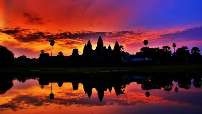temple angkor wat coucher soleil